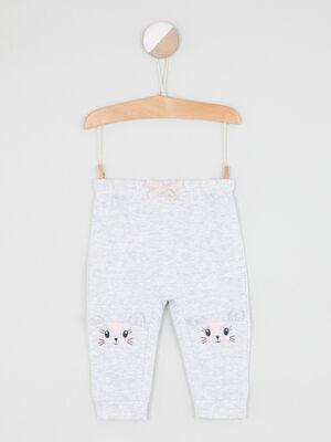 Pantalon broderies et details 3D gris fille