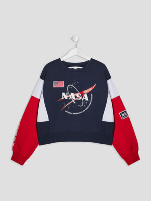 Sweat manches longues NASA multicolore fille