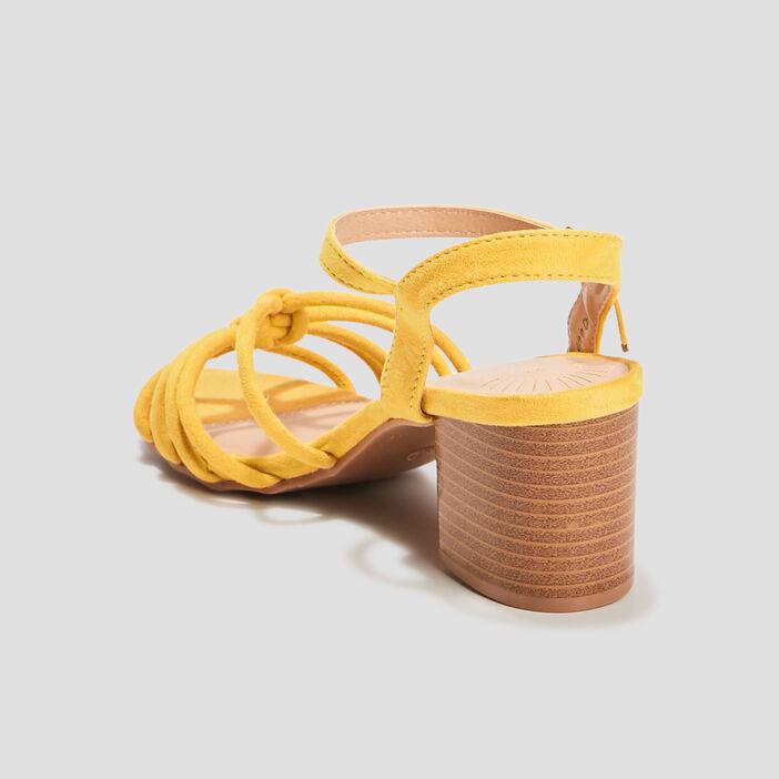 Sandales à talons femme jaune