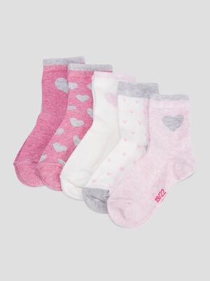 Lot 5 paires chaussettes rose mixte