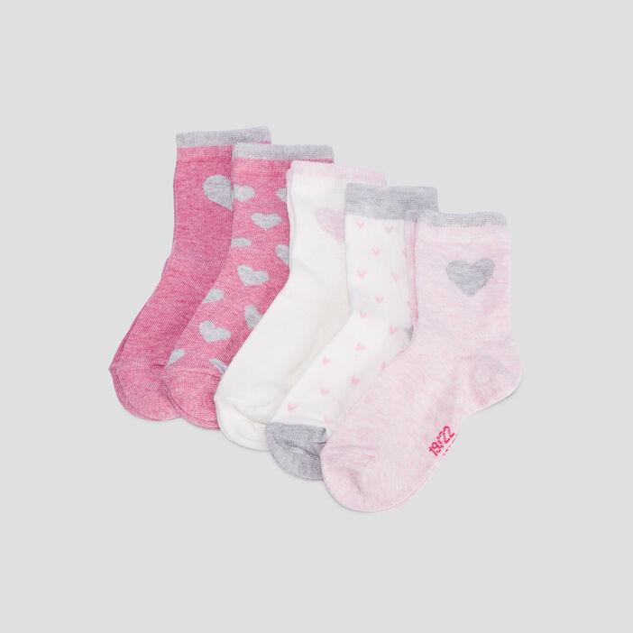 Lot 5 paires chaussettes mixte rose