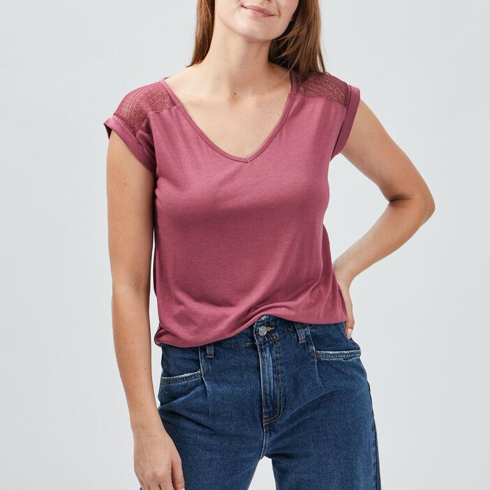 T-shirt manches courtes femme violet foncé