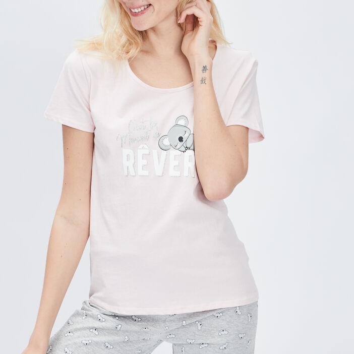 Ensemble de pyjama 2 pièces femme rose clair
