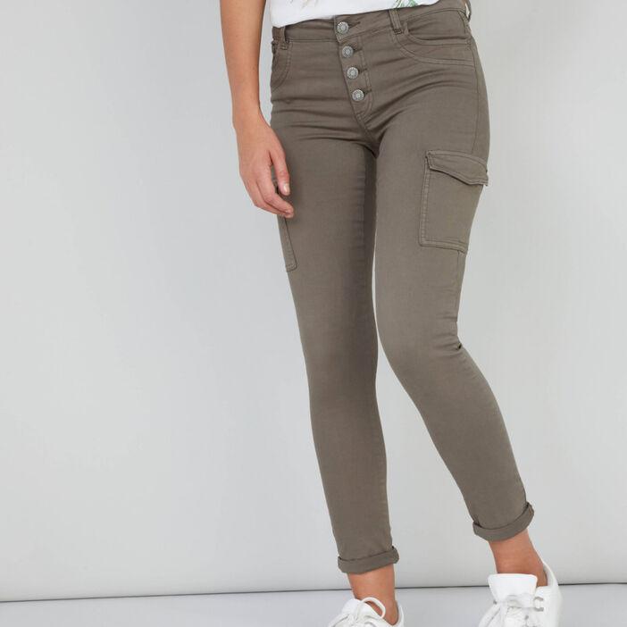 Pantalon slim battle boutonné femme vert kaki