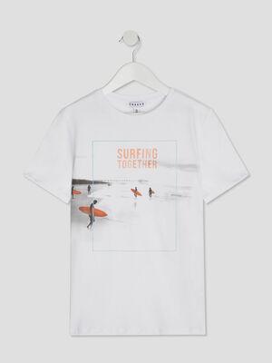 Tee shirt imprime surf en coton blanc garcon