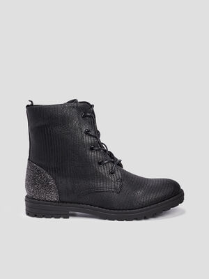 Bottines zippees crantees noir fille