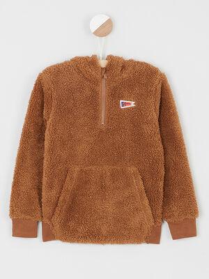 Sweatshirt sherpa a capuche camel garcon