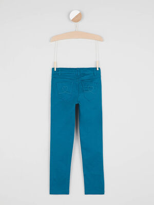 Pantalon skinny avec bouton coeur bleu canard fille