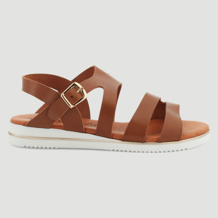 Sandales plates multibrides en cuir femme marron clair