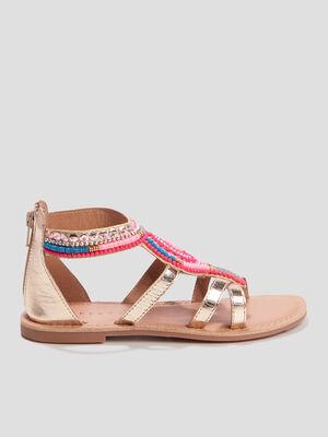 Sandales plates avec perles couleur or fille