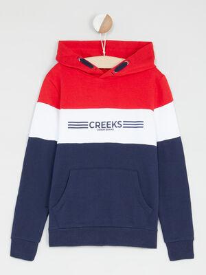 Sweatshirt a capuche bandes tricolores bleu marine garcon