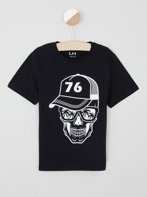 T shirt uni message devant noir garcon
