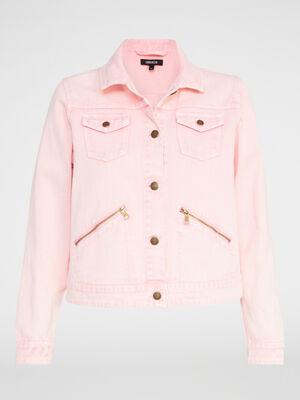 Veste boutonnee unie rose femme