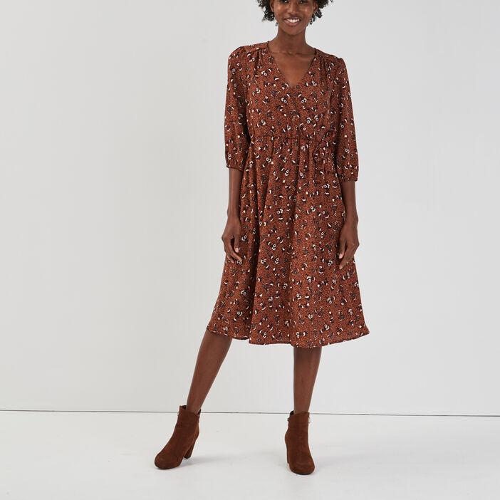 Robe évasée manches 3/4 femme multicolore