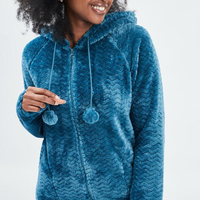 Veste de pyjama à capuche femme bleu canard