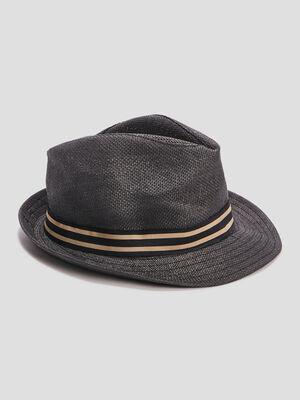 Chapeau trilby tresse gris fonce homme