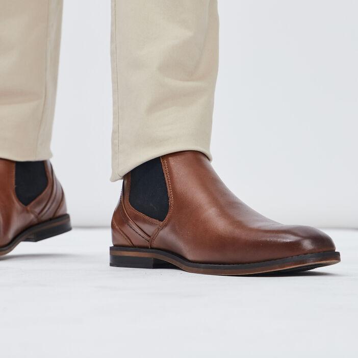 Bottines plates en cuir homme marron