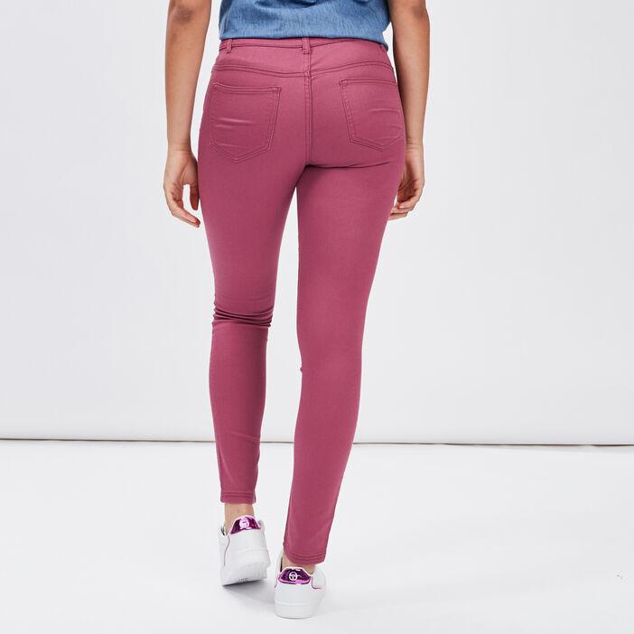 Pantalon slim femme violet foncé