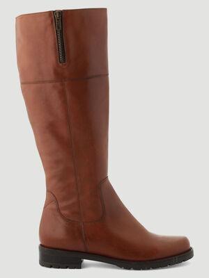 Bottes en cuir detail zip marron femme