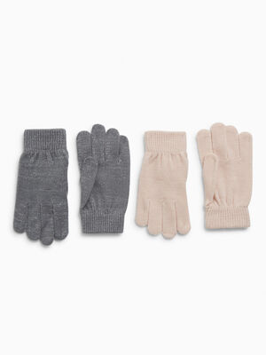 Lot 2 paires de gants multicolore mixte