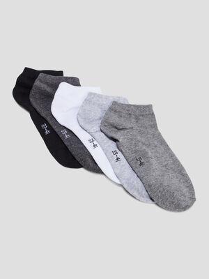 Lot 5 paires socquettes gris femme