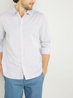 Chemise droite imprimee en coton blanc homme