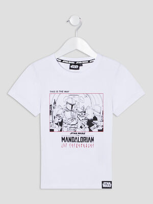 T shirt The Mandalorian blanc garcon