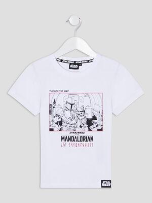 T shirt The Mandalorian blanc garcon