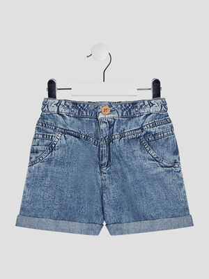 Short ample en jean bleu fille