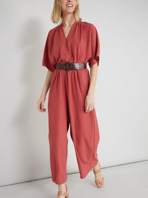 Combinaison pantalon unie rose framboise femme