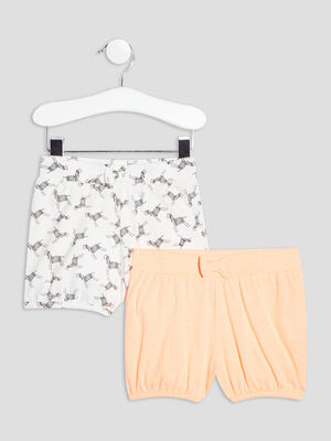 Lot 2 shorts droits rose bebef