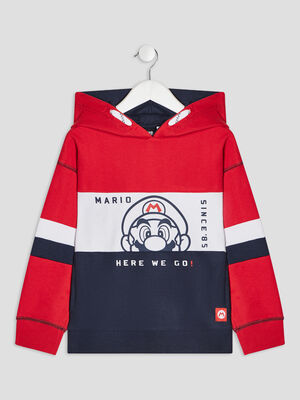 Sweat a capuche Mario multicolore garcon