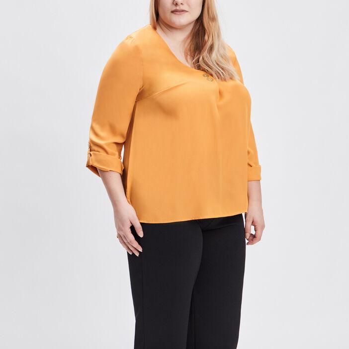 Blouse grande taille femme grande taille jaune moutarde