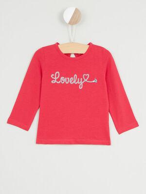 T shirt manches longues avec imprime rouge fille