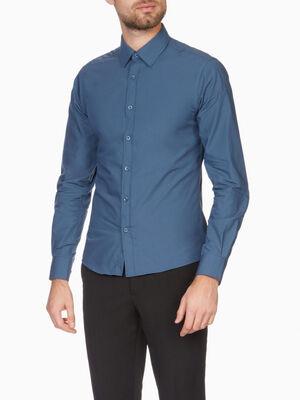 Chemise droite unie manches longues bleu homme