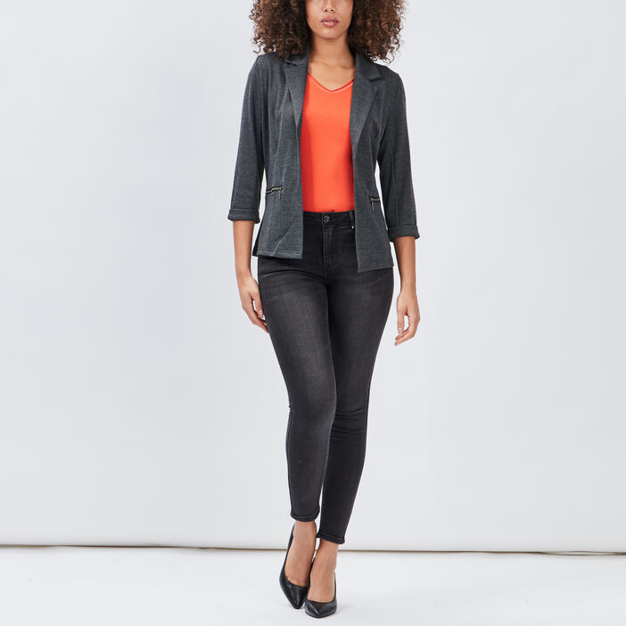 Veste droite manches 3/4 femme gris foncé