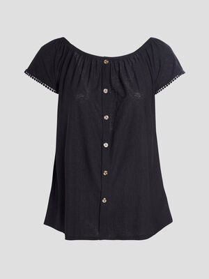T shirt manches courtes noir femmegt