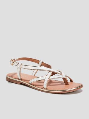 Sandales en cuir avec entre doigt blanc femme