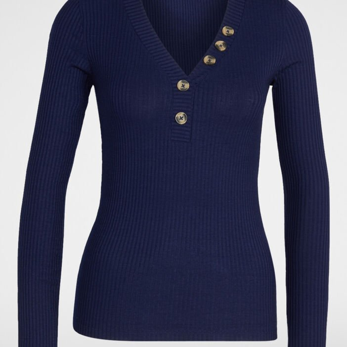 T-shirt maille côtelée boutons décoratif femme bleu marine