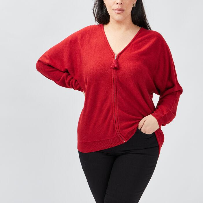 Gilet zippé grande taille femme grande taille rouge