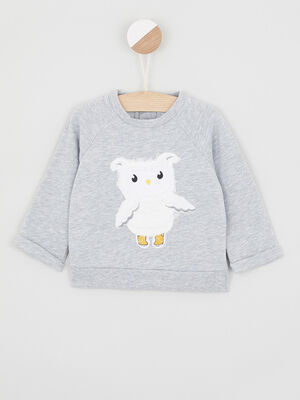 Sweatshirt imprime place devant gris garcon