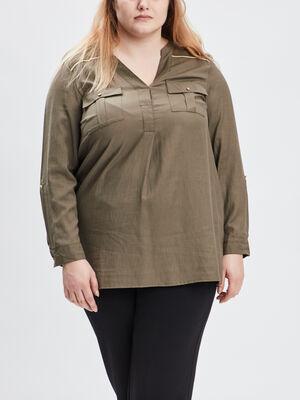 Chemise manches longues grande taille vert kaki femmegt