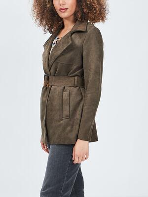 Manteau droit ceinture suedine vert kaki femme