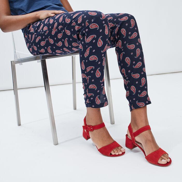 Sandales à talons en cuir femme rouge
