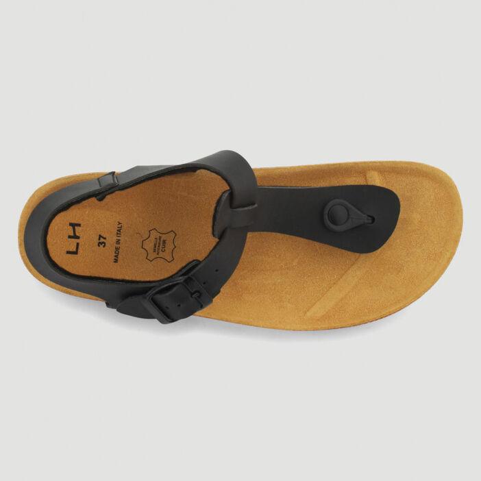 Sandales entre-doigt semelle liège femme noir