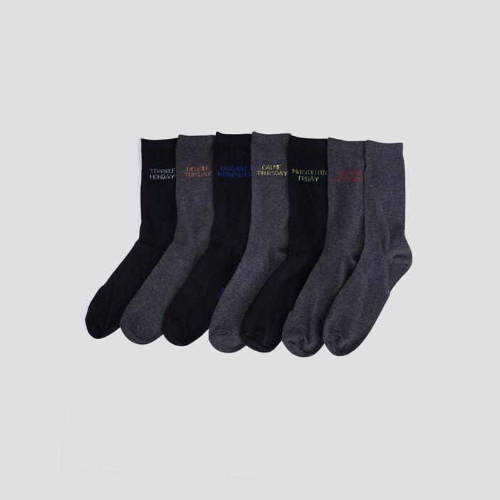 Lot 7 paires chaussettes homme gris