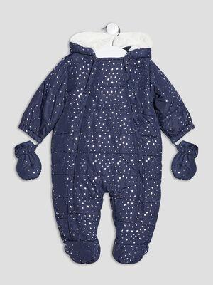 Combinaison a capuche bleu marine bebef
