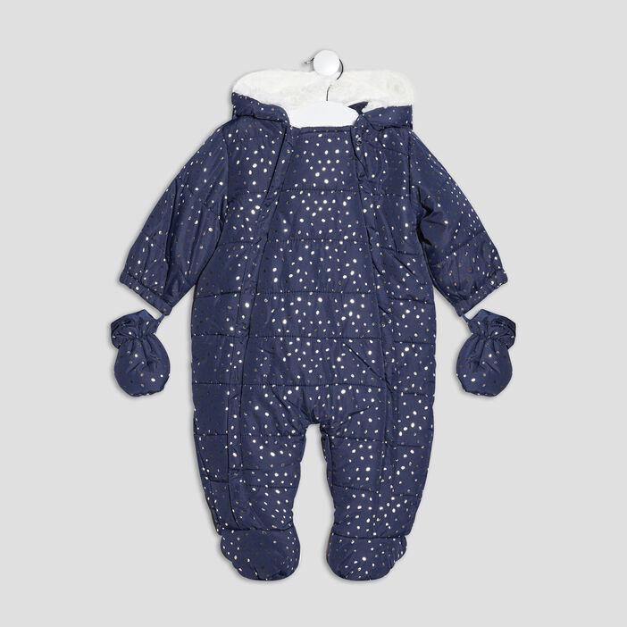 Combinaison à capuche bébé fille bleu marine