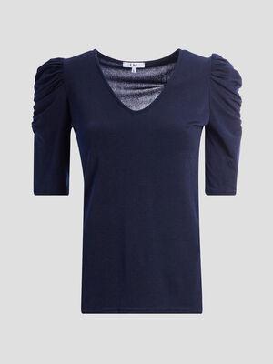 T shirt manches 34 bleu femme