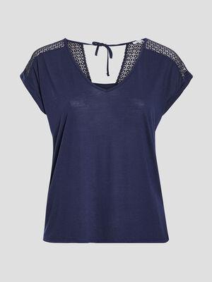T shirt manches courtes bleu marine femmegt